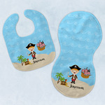Pirate Scene Baby Bib & Burp Set w/ Name or Text