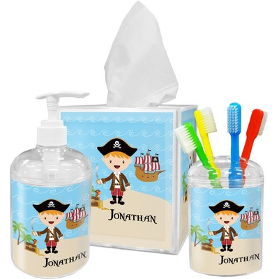 Pirate Scene Acrylic Bathroom Accessories Set w/ Name or Text