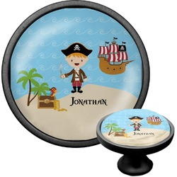 Pirate Scene Cabinet Knob (Black) (Personalized)
