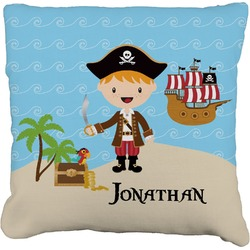 """Pirate Scene Faux-Linen Throw Pillow 26"""" (Personalized)"""