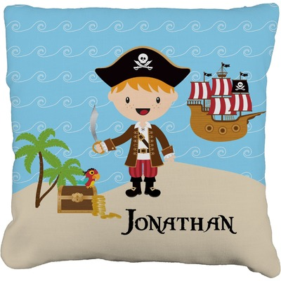 Pirate Scene Faux-Linen Throw Pillow (Personalized)