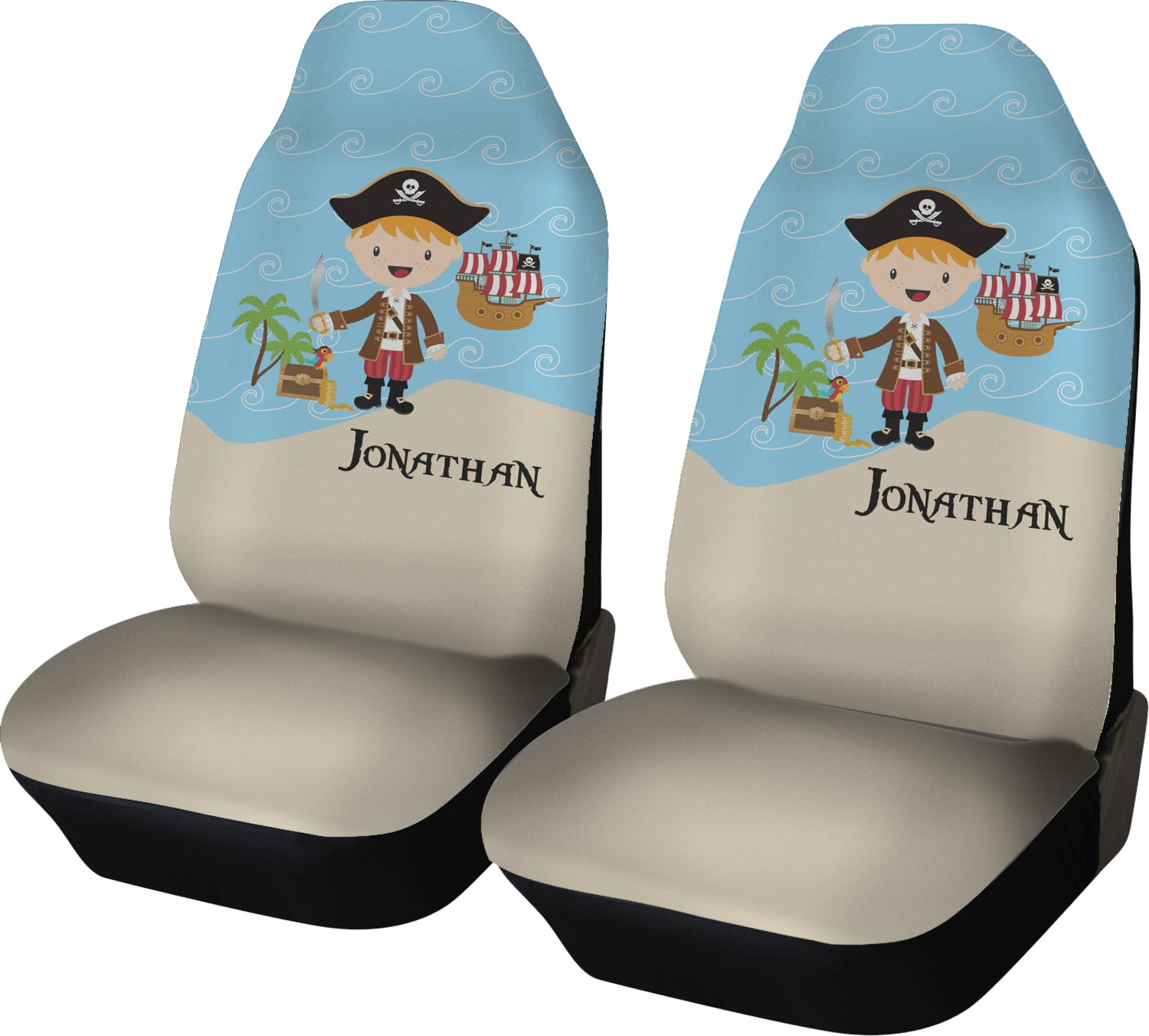 Peachy Pirate Scene Car Seat Covers Set Of Two Personalized Dailytribune Chair Design For Home Dailytribuneorg