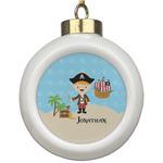 Pirate Scene Ceramic Ball Ornament (Personalized)