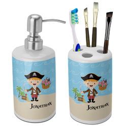 Pirate Scene Ceramic Bathroom Accessories Set (Personalized)