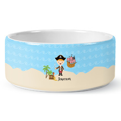 Pirate Scene Ceramic Dog Bowl (Personalized)