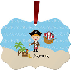 Pirate Scene Metal Frame Ornament - Double Sided w/ Name or Text