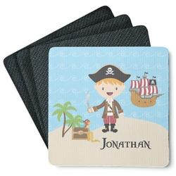 Pirate Scene 4 Square Coasters - Rubber Backed (Personalized)