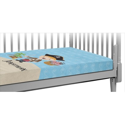 Pirate Scene Crib Fitted Sheet (Personalized)