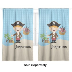 "Pirate Scene Curtains - 20""x63"" Panels - Lined (2 Panels Per Set) (Personalized)"
