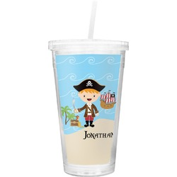 Pirate Scene Double Wall Tumbler with Straw (Personalized)