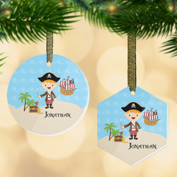 Pirate Scene Flat Glass Ornament w/ Name or Text