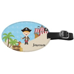 Pirate Scene Genuine Leather Oval Luggage Tag (Personalized)