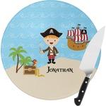 Pirate Scene Round Glass Cutting Board (Personalized)