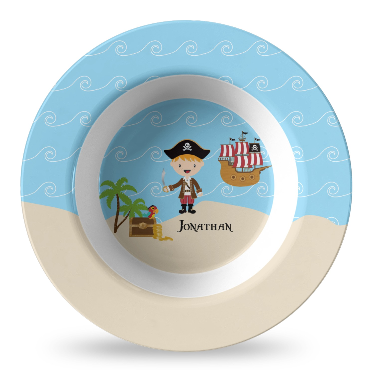 Pirate Scene Plastic Bowl Microwave Safe Composite Polymer Personalized