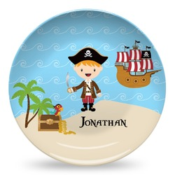 Pirate Scene Microwave Safe Plastic Plate - Composite Polymer (Personalized)
