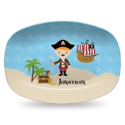 Pirate Scene Plastic Platter - Microwave & Oven Safe Composite Polymer (Personalized)