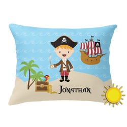 Pirate Scene Outdoor Throw Pillow (Rectangular) (Personalized)