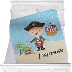 "Pirate Scene Fleece Blanket - Twin / Full - 80""x60"" - Double Sided (Personalized)"