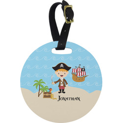 Pirate Scene Round Luggage Tag (Personalized)