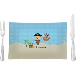 Pirate Scene Glass Rectangular Lunch / Dinner Plate - Single or Set (Personalized)
