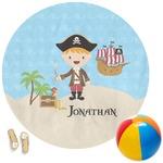Pirate Scene Round Beach Towel (Personalized)