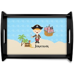 Pirate Scene Black Wooden Tray (Personalized)