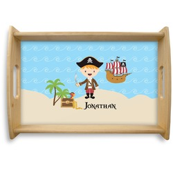 Pirate Scene Natural Wooden Tray - Small (Personalized)