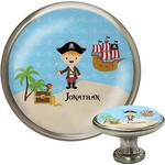 Pirate Scene Cabinet Knob (Silver) (Personalized)