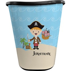 Pirate Scene Waste Basket - Double Sided (Black) (Personalized)
