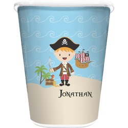Pirate Scene Waste Basket - Double Sided (White) (Personalized)