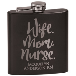 Nursing Quotes Black Flask Set (Personalized)