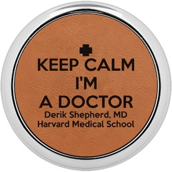 Medical Doctor Leatherette Round Coaster w/ Silver Edge - Single or Set (Personalized)