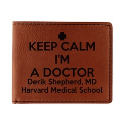 Medical Doctor Leatherette Bifold Wallet - Single Sided (Personalized)