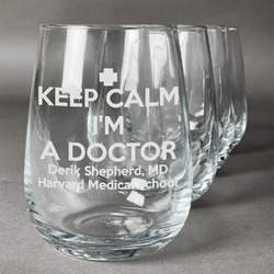Medical Doctor Wine Glasses (Stemless Set of 4) (Personalized)