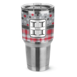 Red & Gray Dots and Plaid Stainless Steel Tumbler - 30 oz (Personalized)