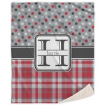Red & Gray Dots and Plaid Sherpa Throw Blanket (Personalized)