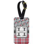 Red & Gray Dots and Plaid Metal Luggage Tag w/ Name and Initial