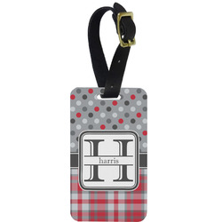 Red & Gray Dots and Plaid Aluminum Luggage Tag (Personalized)
