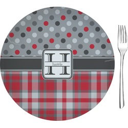 """Red & Gray Dots and Plaid Glass Appetizer / Dessert Plates 8"""" - Single or Set (Personalized)"""