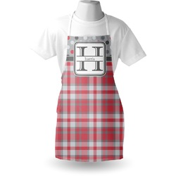Red & Gray Dots and Plaid Apron (Personalized)