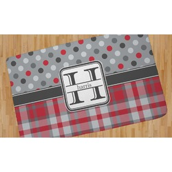 Red & Gray Dots and Plaid Area Rug (Personalized)