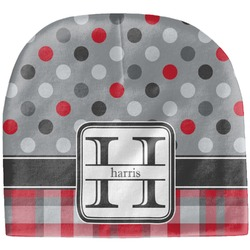 Red & Gray Dots and Plaid Baby Hat (Beanie) (Personalized)