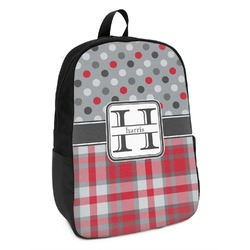 Red & Gray Dots and Plaid Kids Backpack (Personalized)