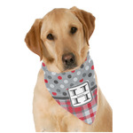 Red & Gray Dots and Plaid Dog Bandana Scarf w/ Name and Initial