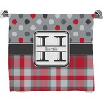Red & Gray Dots and Plaid Full Print Bath Towel (Personalized)