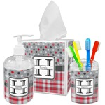 Red & Gray Dots and Plaid Bathroom Accessories Set (Personalized)