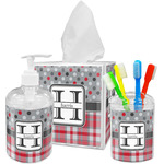 Red & Gray Dots and Plaid Acrylic Bathroom Accessories Set w/ Name and Initial