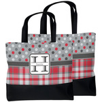 Red & Gray Dots and Plaid Beach Tote Bag (Personalized)