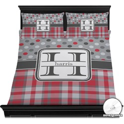 Red & Gray Dots and Plaid Duvet Covers (Personalized)