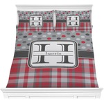 Red & Gray Dots and Plaid Comforters (Personalized)